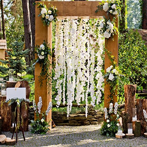 AOFOTO 8x8ft Romantic Arch of Wedding Ceremony Decoration Background Rustic Style Photography Backdrop Garden Flowers Photo Studio Props Bride Girlfriend Couple Lovers Portrait Vinyl Wallpaper