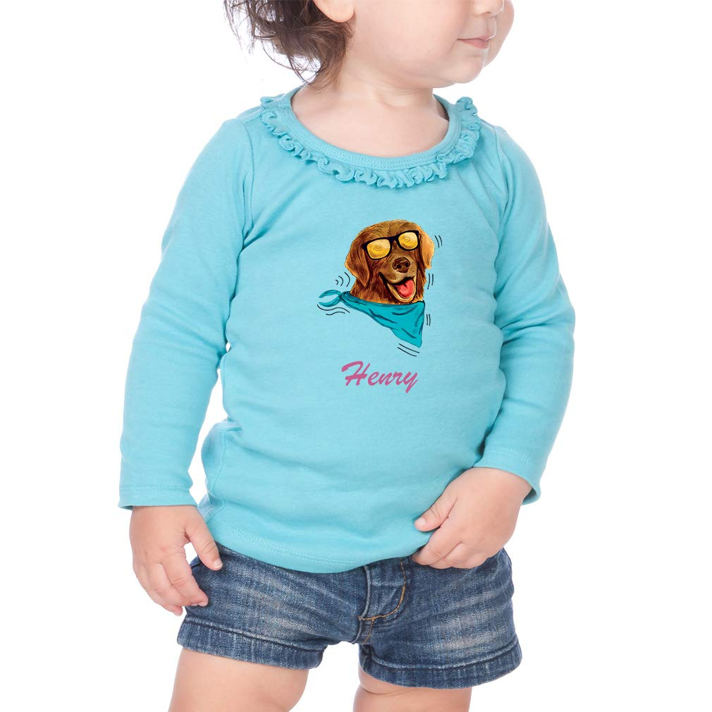 Personalized in Sun Glasses Cotton Girl Toddler Long Sleeve Ruffle Shirt Top