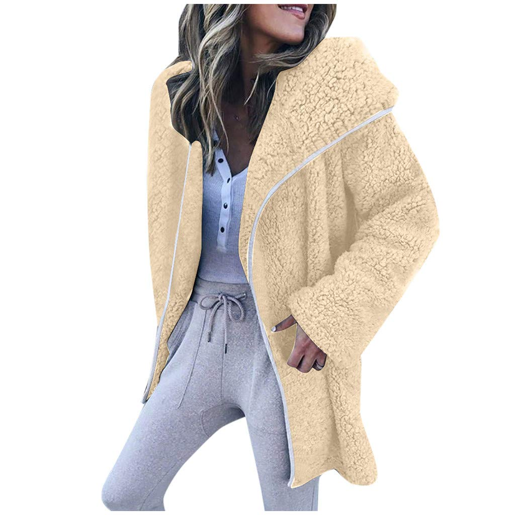 Dermanony Womens Coat Jacket Winter Warm Parka Outwear Solid Color Lapel Cardigan Sweater Casual Fleece Jacket Coat Beige by Dermanony _Coat