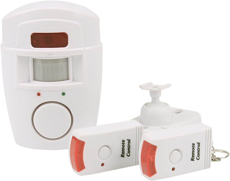 inal/ámbrico Alarma, 105/Db Alarma, Mando a Distancia, Sensor de Movimiento inal/ámbrico con bater/ía, IR Casa de Alarma para Interior Olympia BM 200/Detector de Movimiento PIR con Alarma