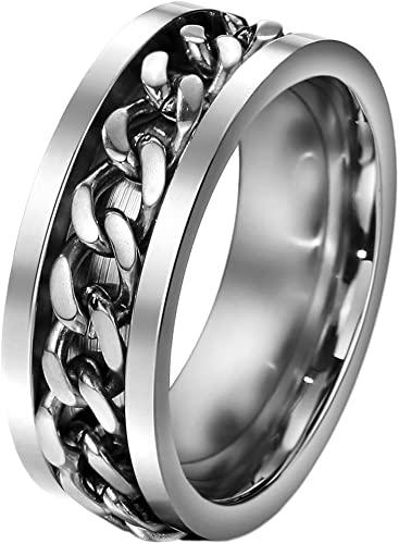 Double chain ring stainless steel size 10 US SELLER