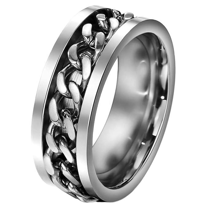 FANSING Mens Spinner Rings, Fidget Ring, Stainless Steel Band, Black, Silver, Multi, Size 6-15