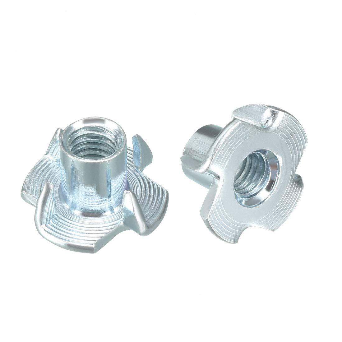 uxcell 100Pcs M6 4 Pronged Tee Nut T-Nut for Rock Climbing Holds Wood Cabinetry