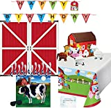 Farm Party Decorations - Birthday Banner, Tablecloth, Barn Backdrop, Farm Animal Centerpiece, Pin The Tail on the Cow Game - Perfect Supplies for Farm Theme Birthday Party!