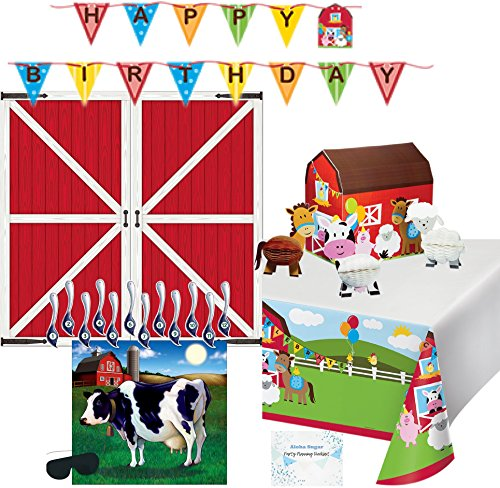 Farm Party Decorations - Birthday Banner, Tablecloth, Barn Backdrop, Farm Animal Centerpiece, Pin The Tail on the Cow Game - Perfect Supplies for Farm Theme Birthday Party!]()