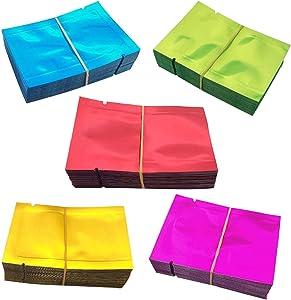 Luckkyme 500 Pack Aluminum Foil Bags, Matte Sample Pack Flat Open Top Resealable Tear Notch Aluminum Foil Mylar Bags, 5 x 7 cm/ 2x 2.7 inch, 5 Color