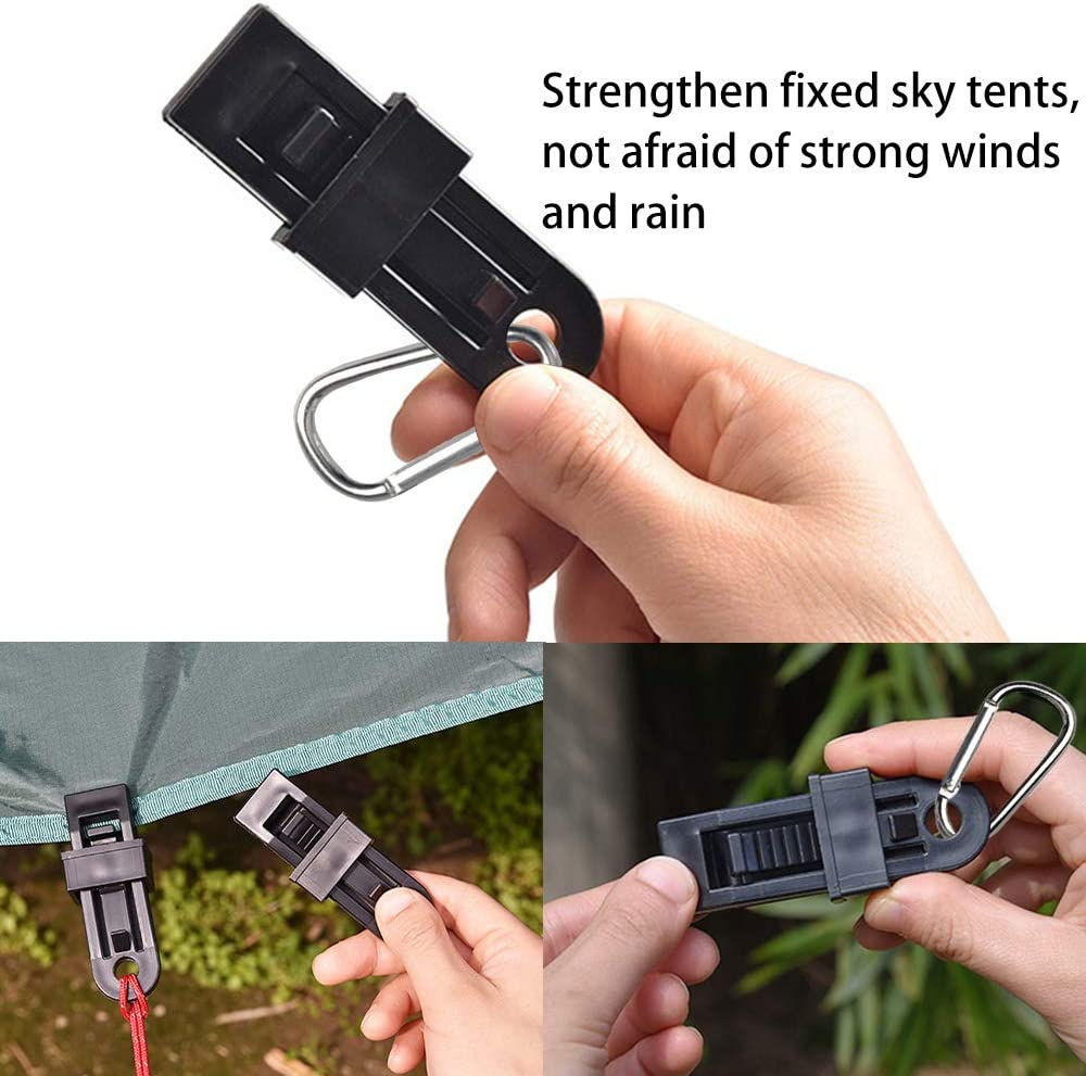 Nobranded 8PCS Tarp Clips Lock Awning Clamp Tent D-Shape Plastic Clip Windproof Awning Clamp Grip Carabiner Hanging Hook for Outdoor Activities Black
