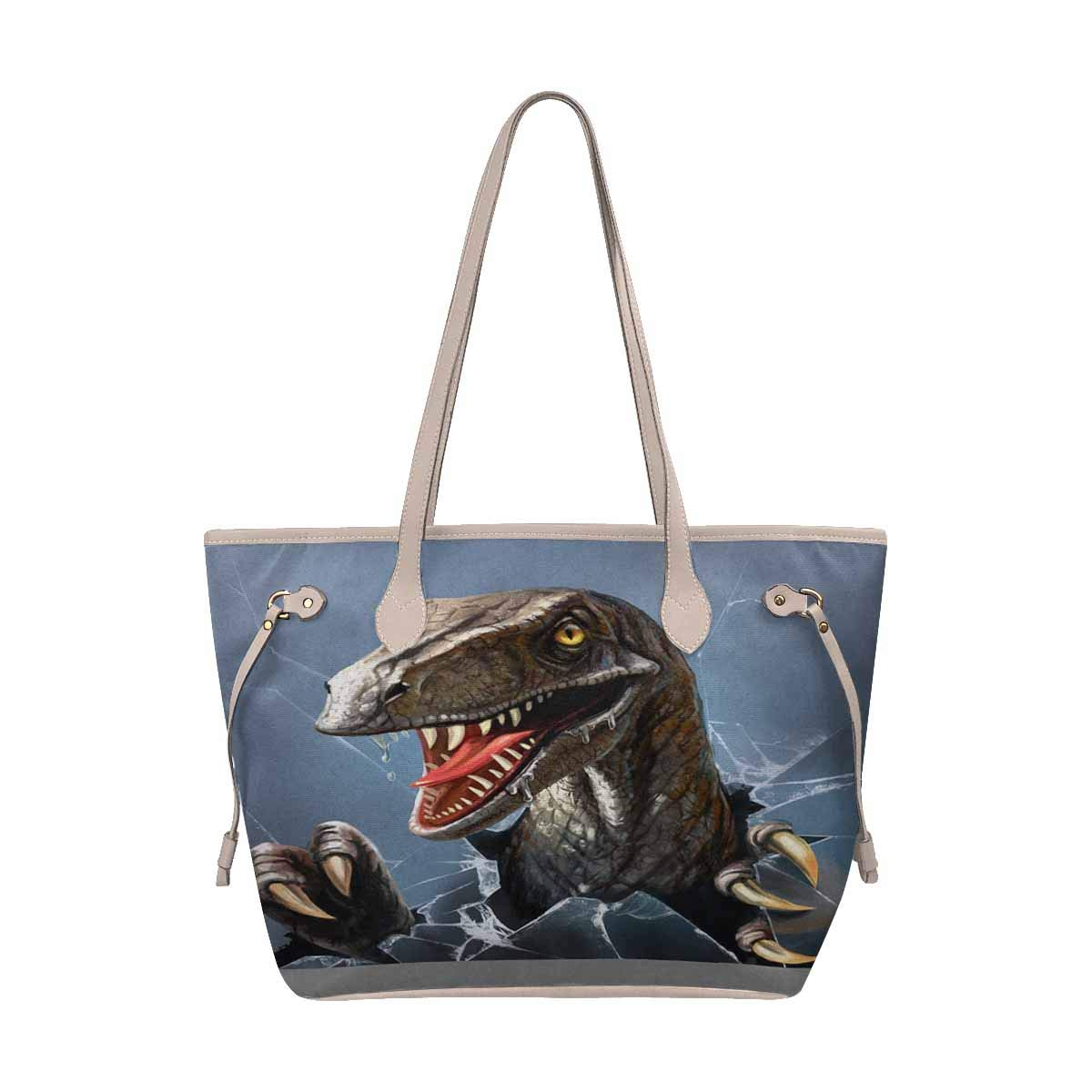 InterestPrint Teal Paint Strokes Leather Tote Bag Large