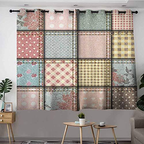 VIVIDX Window Blackout Curtains,Shabby Chic Patchwork Denim Seem Fabric Pieces with Stitches Square Tile Digital Print,for Bedroom Grommet Drapes,W72x72L Multicolor