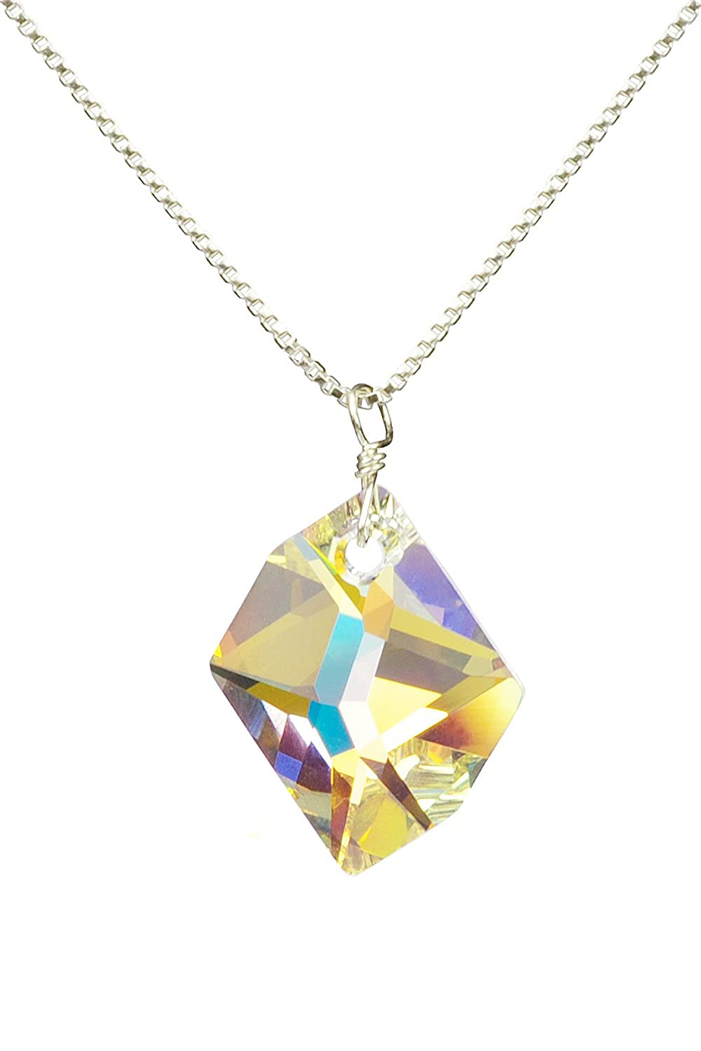 2 extender Aurora Borealis Pendant Necklace made with Swarovski Crystals Sterling Silver 18
