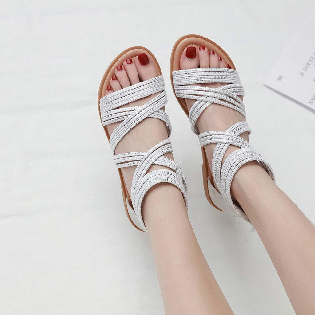 Gallity Summer Womens Foreign Trade Retro Large Size Cross Belt Roman Casual Flat Bottom Shoes Sandals 42, White