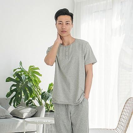 Lanker KJ28P - Conjunto de Pijama y Pantalones de Manga Corta para Hombre, 2 Piezas