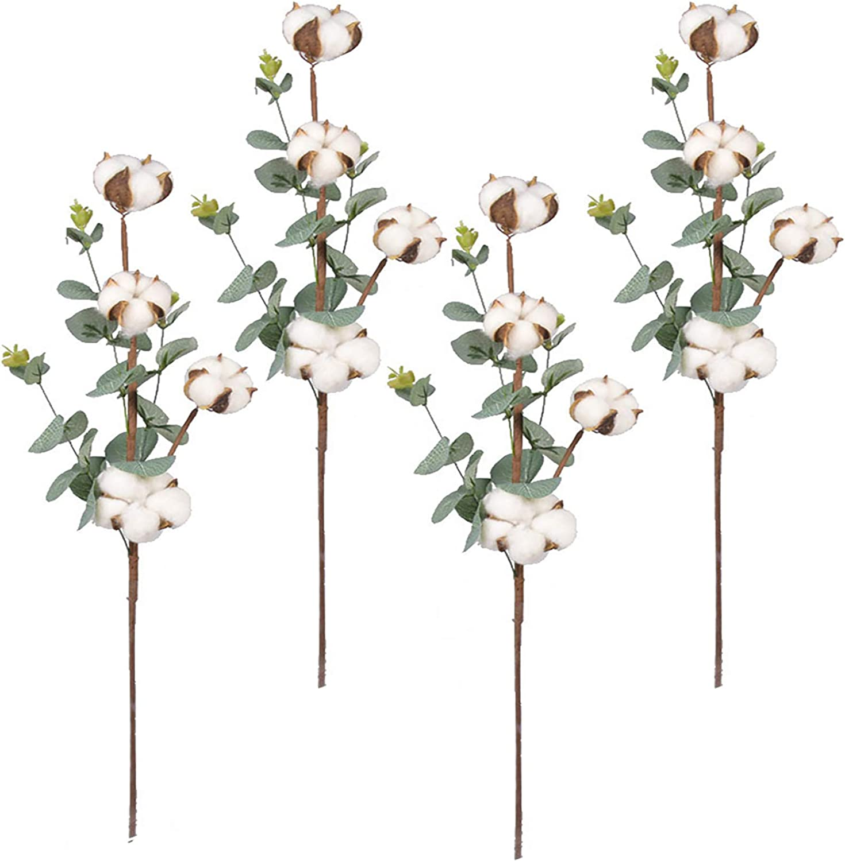 """Cotton Stem 21"""" Artificial Flower Natural Dried Cotton Branches Farmhouse Cotton Decor with Eucalyptus Leaves Plants for Filler Floral Arrangement DIY Home Party Wedding Floral Decoration (4 Cotton)"""