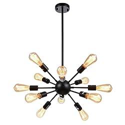 mirrea Sputnik Chandelier Vintage Edison Light Fixture Industrial Starburst Lighting with 12 Lights for Living Room Kitchen Dining Room Black Paint Finished Metal