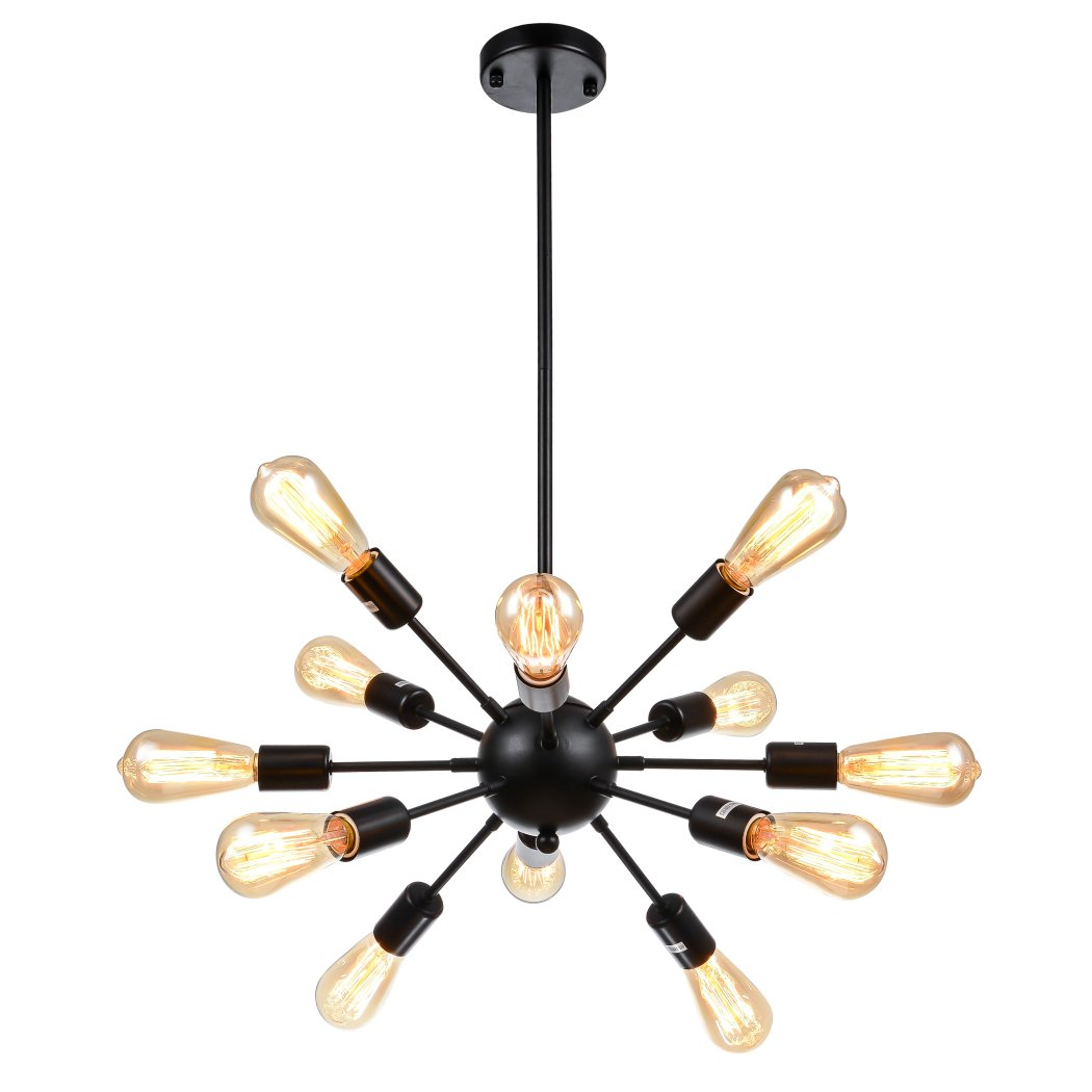 mirrea Sputnik Chandelier Vintage Edison Light Fixture Industrial Starburst Lighting with 12 Lights for Living Room Kitchen Dining Room Black Paint Finished Metal