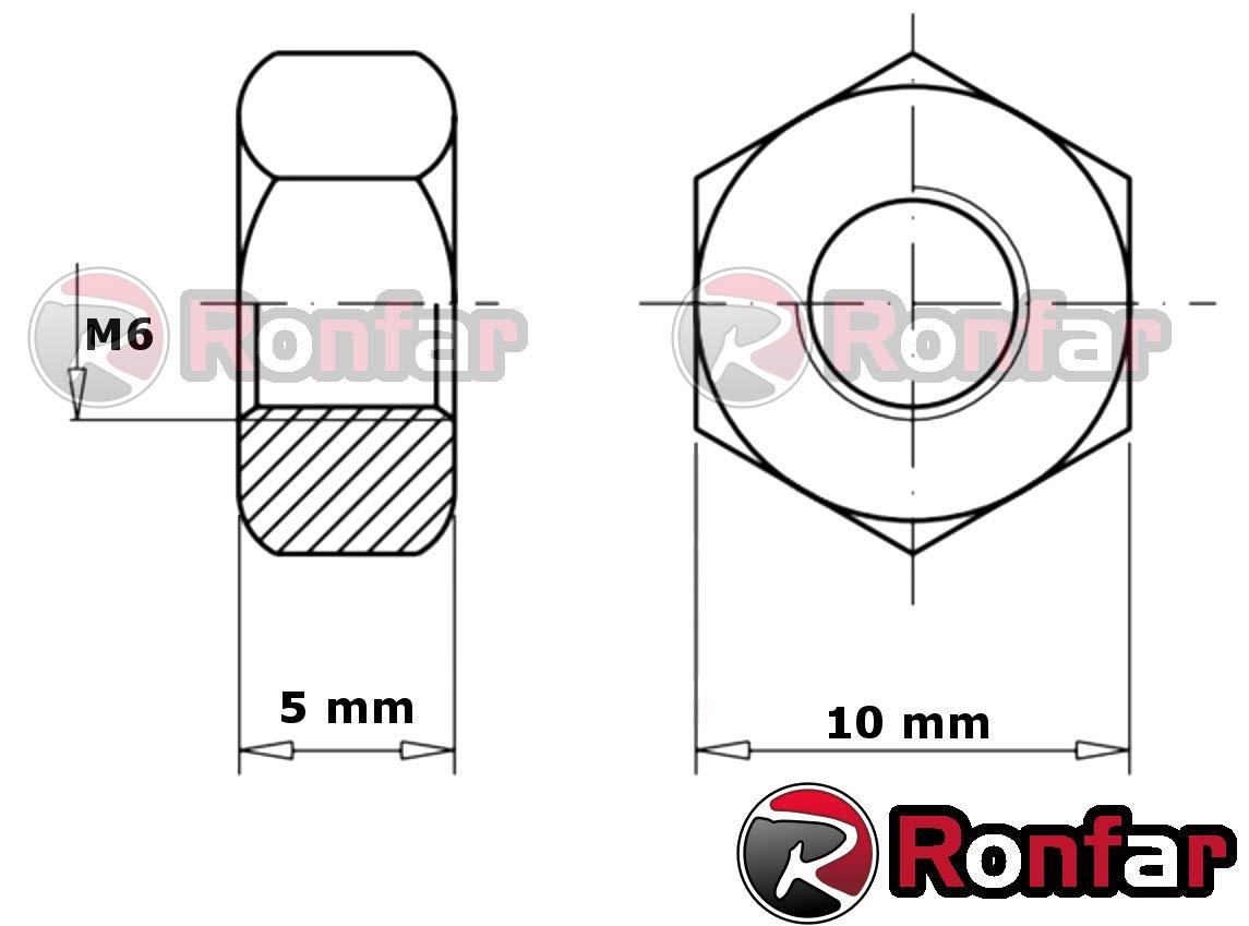 RONFAR Ecrous hexagonaux zingu/é M8 100 pi/èces