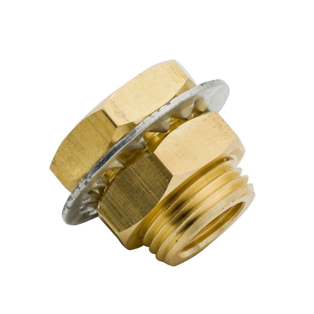Pack of 5 Short Anchor Coupler Threaded Bulk Head Coupling Vis Brass Bulkhead Pipe Fitting 15//16 Length 1//4 NPT Female