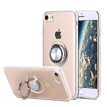SORAKA Funda Transparente para iPhone 6 Plus iPhone 6S Plus,con 360 Soporte de Anillo Giratorio Slim Fit Funda Transparente de TPU Suave Compatible ...