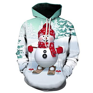 8d9fd9c212 Amazon.com: STORTO Plus Size Christmas Hoodies Sweatshirt Happy Snowman  Print Drawstring Pullover Tops: Clothing