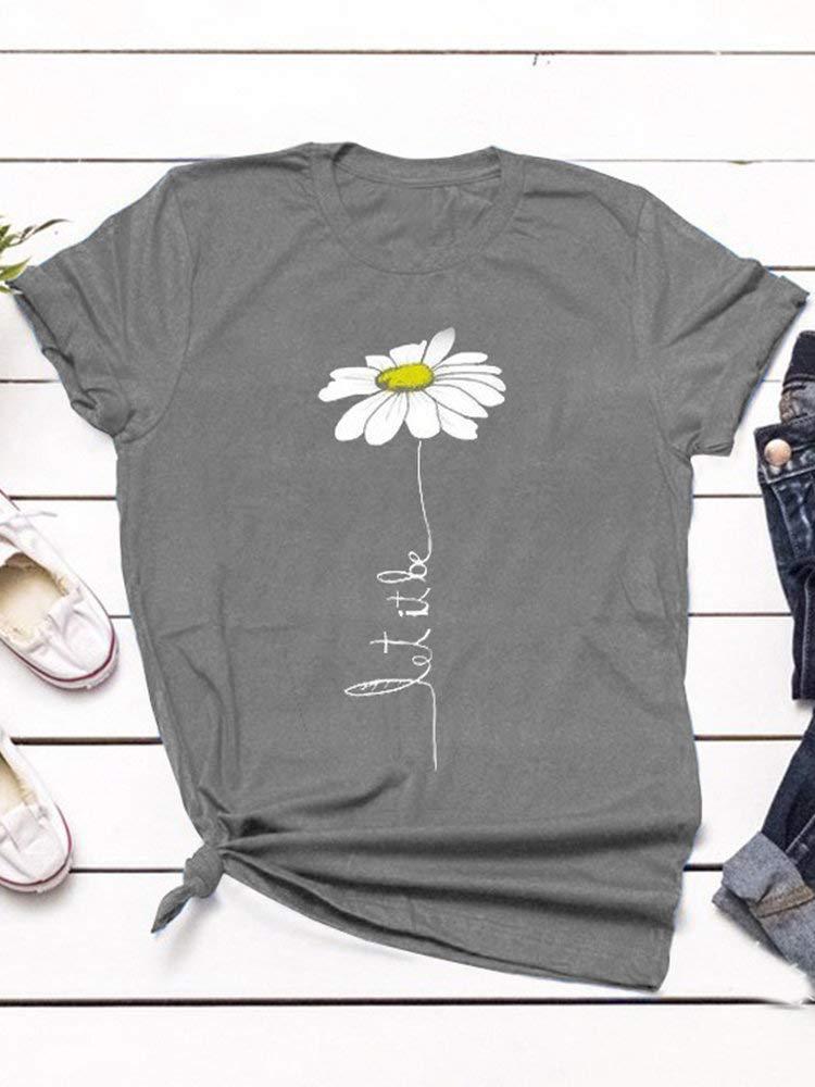 Eaglers Fashionable Casual Print Flower Short Sleeve Overhead T-Shirt Online