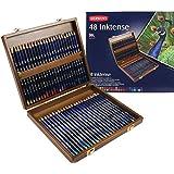 Derwent Inktense Pencils, 4mm Core, Wooden Box, 48 Count (2300151)