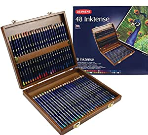 Derwent Inktense Pencils, 4mm Core, Wooden Box, 48 Count (2300151)