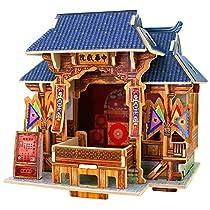 Robotime DIY Global Style House Wooden Craft Kit Miniatute Model Kits for Kids (China Theater)