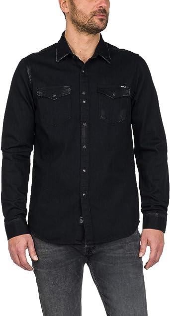 Replay - Camisa de hombre negra de tela vaquera con efecto decolorado, Art. M4998: Amazon.es: Ropa y accesorios