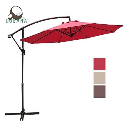 COBANA 10u0027 Offset Hanging Patio Umbrella Freestanding Outdoor Parasol  Adjustable Market Umbrella, 250g/