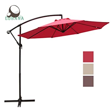 Amazon.Com : Cobana 10' Offset Hanging Patio Umbrella Freestanding