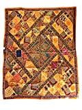 Mogul Tapestry Banjara Mirror Patchwork Yellow Bohemian Wall Hanging Throw 90X 80