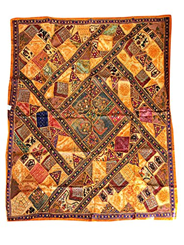 Mogul Tapestry Banjara Mirror Patchwork Yellow Bohemian Wall Hanging Throw 90X 80 by Mogul Interior