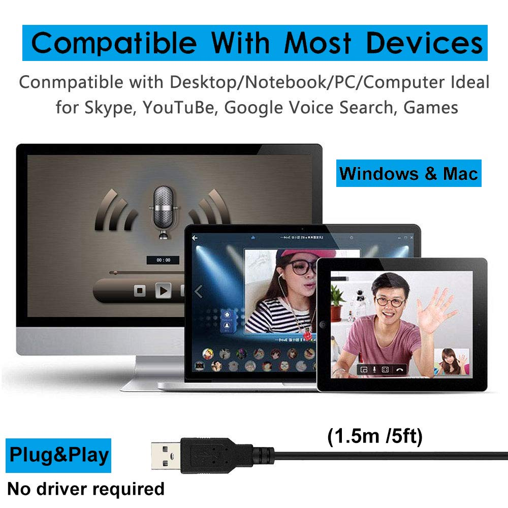 XIAOKOA USB Microphone for Computer 1.5m //5ft Podcasting Gaming Ideal for Recording YouTube Plug/&Play Desktop Omnidirectional Condenser PC Laptop Mic Compatible with Windows//Mac