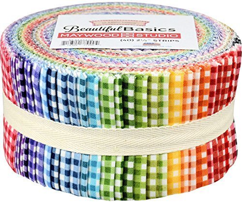 - Beautiful Basics Classic Check Precut Quilting Strips of Fabric Jelly Roll 40 2.5-inch by Maywood Studio