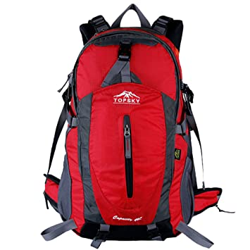 304cf9364c77 Topsky Hiking Backpack Climbing Waterproof Travel Rucksack 40 L Nylon  Sports Bag Unisex Outdoors Trekking Cycling Camping (Red)  Amazon.co.uk   Sports   ...