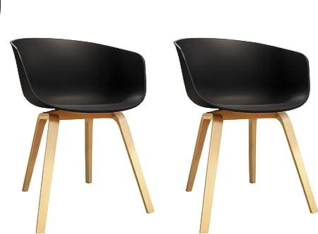 Set di 2 sedie scandinave nere Sedie a guscio a forma di