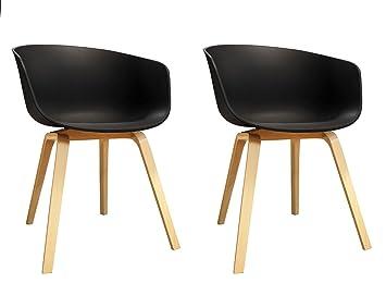 Meubletmoi - Juego de 2 sillones escandinava Negros - Sillas ...