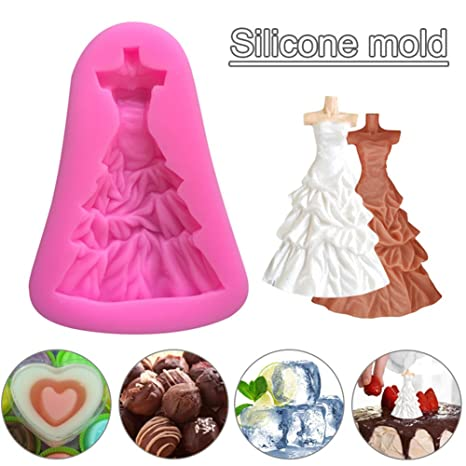 Bulary Princesa Vestido Chocolate Silicona Molde Novia Boda Noche Vestido Hornear DIY Suave Crema Molde: Amazon.es: Hogar