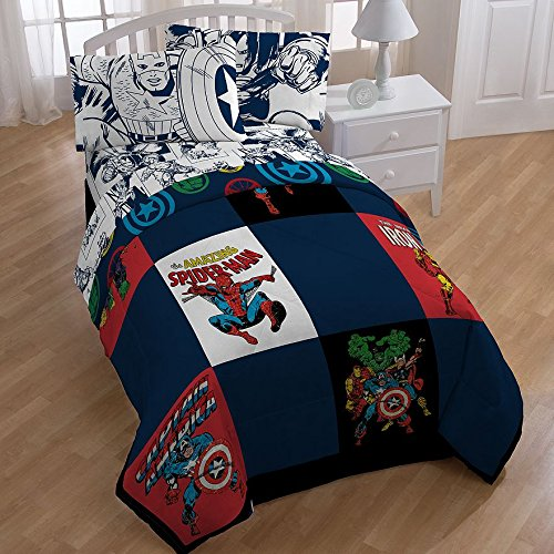 Marvel Comics, Avengers, Spiderman, Captain America, Boys Twin Comforter & Sheets (4 Piece Bed In A Bag) + HOMEMADE WAX MELT