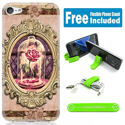 [Ashley Cases] For Apple iPhone 8 Plus/iPhone 7 Plus Cover Case Skin with Flexible Phone Stand - Beauty And The Beast Rose Mirror