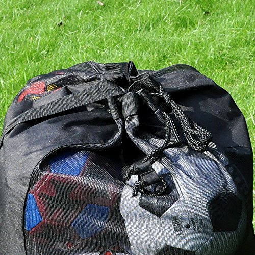 Eco Walker Ball Bag Large Capacity (Holds 16 Soccer Balls) Heavy Duty Mesh Drawstring with Adjustable Shoulder Strap and Thick Handle by Eco Walker (Image #6)