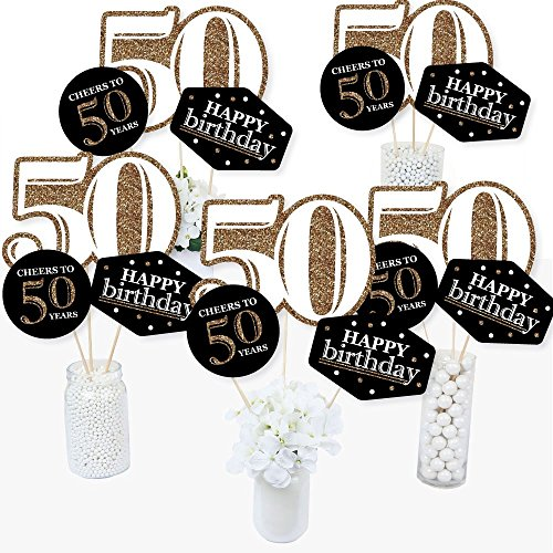 Adult 50th Birthday - Gold - Birthday Party Centerpiece Sticks - Table Toppers - Set of 15 by Big Dot of Happiness
