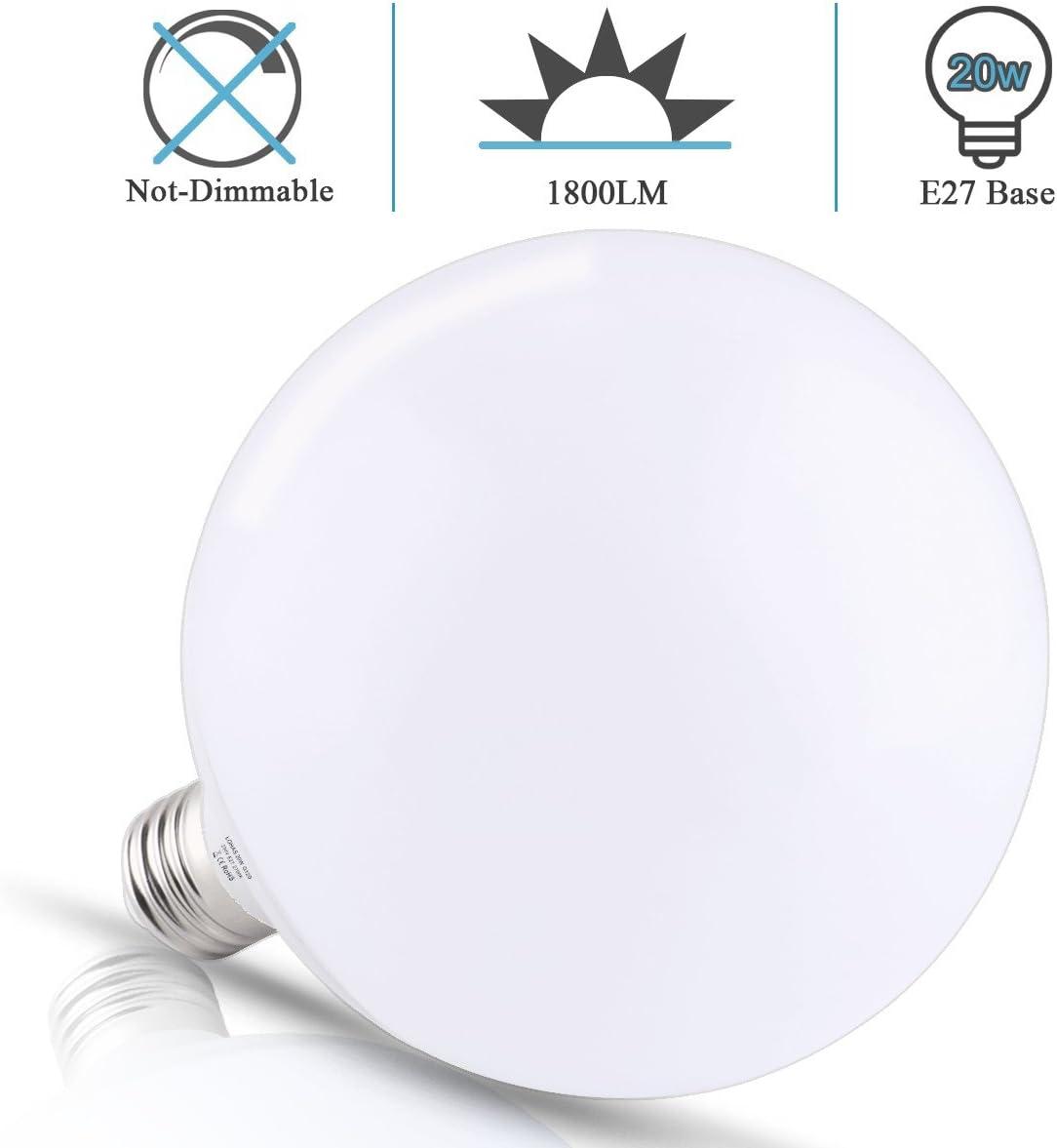 Non Dimmable LOHAS/® 20W E27 Lot de 1 Ampoule LED Globe Lampe Bulb Spotlight,2700K Blanc Chaud,1800lm,200W Ampoule Halog/ène /Équivalent