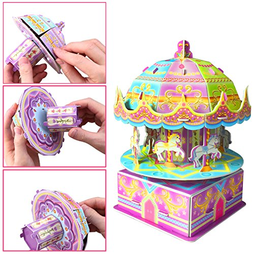 3D Carousel Puzzles for Kids Magic Carousel Music Box Dollhouse Model Whirligig Jigsaw Music Box DIY Construction Set Educational Toys Creative Games, Carousel Toy for Birthday Gift Girl Boy by TTHO (Image #2)
