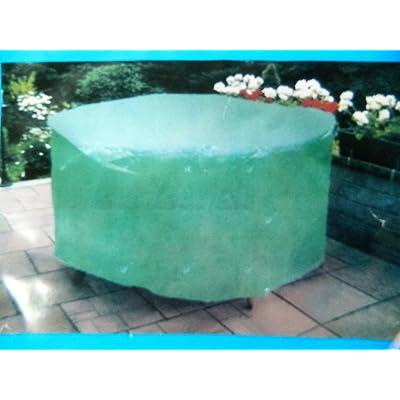bache Housse ronde verte de protection salon de jardin table ...