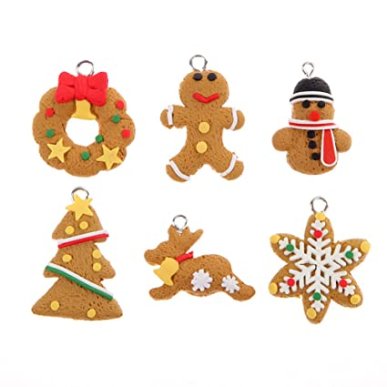 Polymer Clay Christmas Decorations.Jocestyle 6 Pcs Cute Animal Snowflake Biscuits Christmas Decorations Polymer Clay Christmas Tree Ornaments Pendant Set Hanging Gift