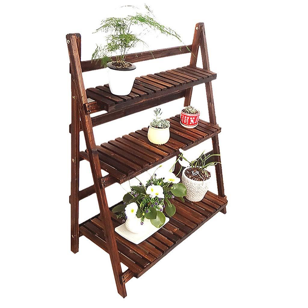 3層植物スタンド、家のための木製折りたたみフラワーディスプレイラック屋内フラワースタンドバルコニー棚ラダーディスプレイ棚ブラウン (サイズ さいず : 80x37) B07MTLB4JR  80x37