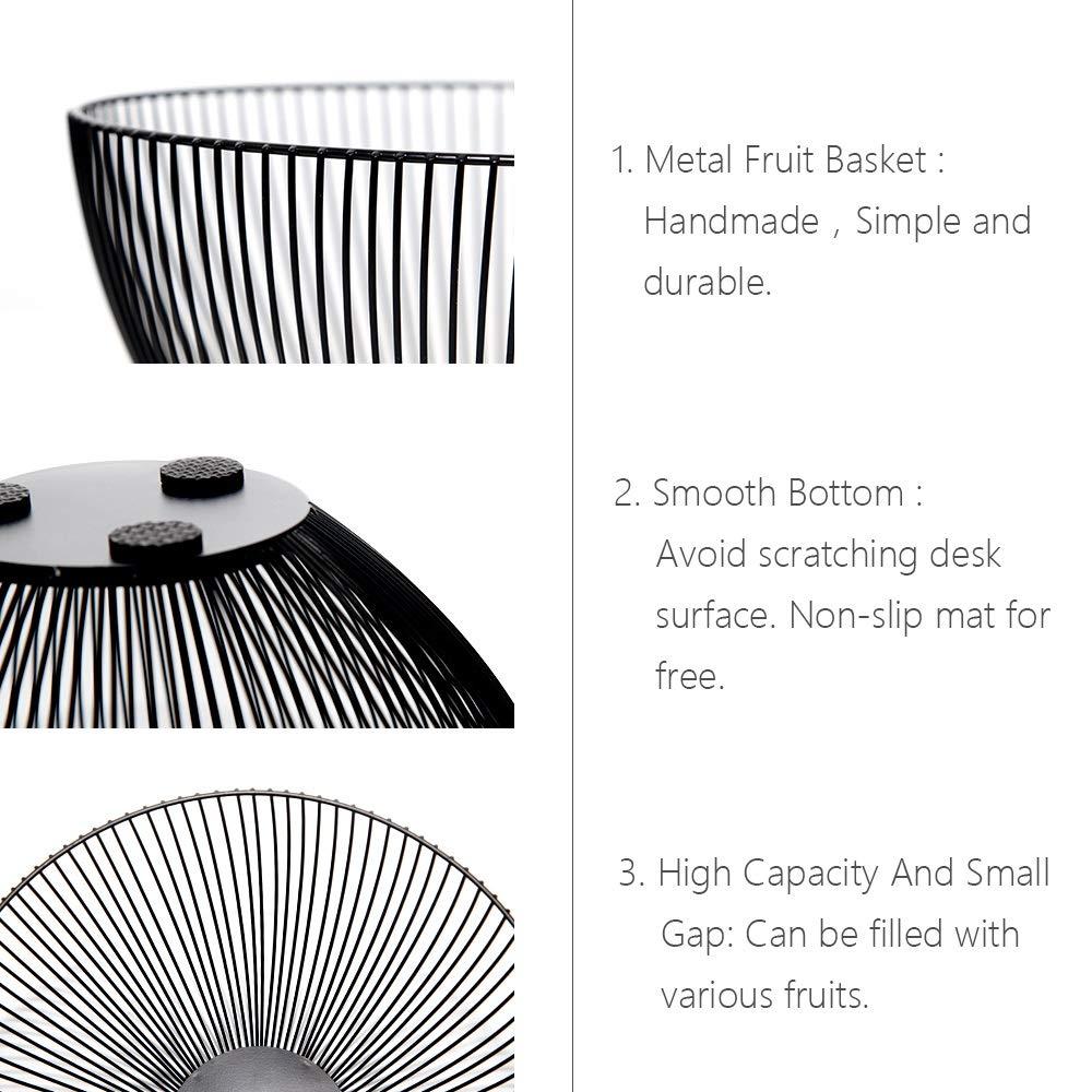 DMAR Frutero Original y de diseño,Metal Fruit Bowl Basket,Negro,10 Inch: Amazon.es: Hogar