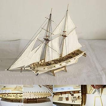 Amazon com: Yamalans 1:100 Scale Mini Wooden Sailboat Ship Model Kit