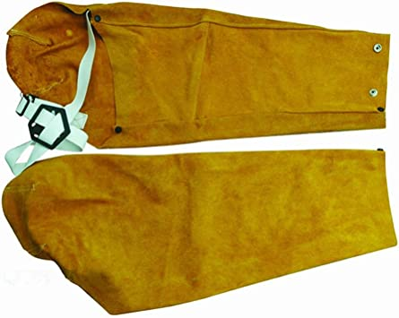 Long Split Leather Welding Sleeves Protective Splatter Heat Arm Straps Sleeve